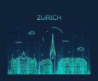 Zurich skyline silhouette illustration linear Stock Photography