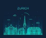 Zurich skyline silhouette illustration linear Stock Photography