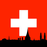 Zurich skyline vector flag background Royalty Free Stock Images