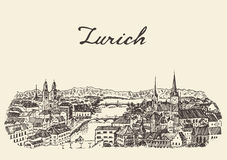 Zurich skyline vector illustration drawn sketch Stock Photography