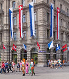 Zurich  Street Parade participants on the Paradeplatz square Stock Photo