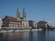 Zurich street view of old town at summer royalty free stock photo