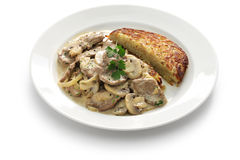 Zurich style veal stew and rosti potato Royalty Free Stock Photos
