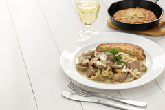 Zurich style veal stew and rosti potato Stock Photography