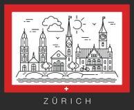 Zurich, Suiza Vista de las atracciones de la ciudad ilustración del vector