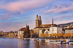 Zurich at the sunset. City center of Zurich at the sunset Royalty Free Stock Photos