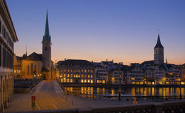 Zurich sightseeing old town with cathedral and church Stock Images