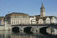 Zurich, Switzerland. View of river Limmat in Zurich, Switzerland royalty free stock photos