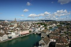 Zurich. Switzerland - aerial view of beautiful Old Town and Limmat River Royalty Free Stock Photography