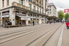 Bahnhofstrasse street in the city of Zurich, Switzerland. Zurich, Switzerland - 17 April, 2016: Bahnhofstrasse street in the city of Zurich. Bahnhofstrasse is stock images