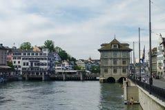Zurich, Switzerland- august 22, 2010: View of embankment Limmat Royalty Free Stock Photo