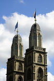 Zurich (Switzerland) Church Close Up. Royalty Free Stock Photography