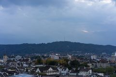 Zurich, Switzerland City Panorama at evening sunset. With old town view stock photos