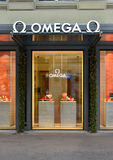 ZURICH, SWITZERLAND - DECEMBER 29, 2013 - Omega shop, well known Royalty Free Stock Photos