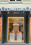 ZURICH, SWITZERLAND - DECEMBER 29, 2013 - Omega shop, well known Royalty Free Stock Images