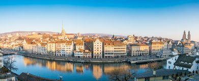 Zurich, Switzerland - December 31, 2016 : Panoramic view of hist Stock Photography