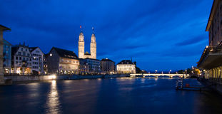 Zurich, Switzerland. Zurich at dusk, spring , Switzerland Royalty Free Stock Photos
