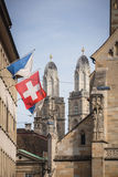 Zurich, Switzerland - The Grossmunster towers Royalty Free Stock Photography