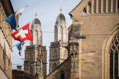 Zurich, Switzerland - The Grossmunster towers Stock Image