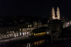 Zurich Switzerland Historic City Center by Night with lights Royalty Free Stock Photos