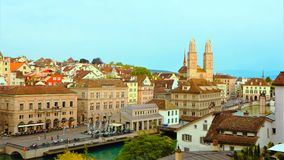 Zurich Switzerland. House ,Church and Building beside Lake Zurich Switzerland royalty free stock photo