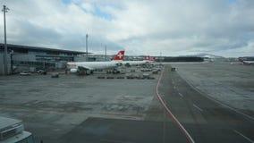 ZURICH, SWITZERLAND - JANUARY : Zurich international Airport at observing area on January 30, 2015 in Zurich, Switzerland. ZURICH, SWITZERLAND - JANUARY : Cloudy stock footage