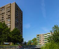 Zurich, Switzerland - July 19th 2015: Modern housing buildings in Seebach, located in the outskirts of the city