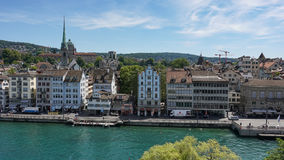 ZURICH, SWITZERLAND - JULY 04, 2017: View of historic Zurich city center, Limmat river and Zurich lake, Switzerland. Zurich is a l Stock Photo