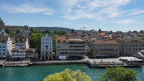 ZURICH, SWITZERLAND - JULY 04, 2017: View of historic Zurich city center, Limmat river and Zurich lake, Switzerland. Zurich is a l Stock Photography