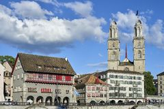 Zurich, Switzerland - June 07, 2017: The Grossmünster which means `great minster`in German is a Romanesque-style Protestant chur royalty free stock image