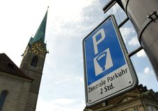 Zurich, Switzerland - June 03, 2017: Parking sign in centre of Z stock images