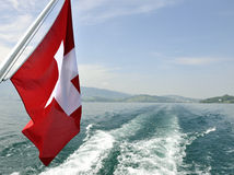 Zurich Switzerland lake with flag Stock Photo