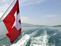 Zurich Switzerland Lake With Flag Stock Photo