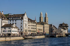 Zurich Switzerland Limmat River Stock Image