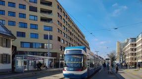 Zurich, Switzerland - March 9th 2016: Urban housing project Kalkbreite. A tram departs in front of the modern buildings.
