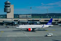 Zurich, Switzerland, Mart 2017 - Planes preparing for take off at Terminal A of Zurich Airport. stock image