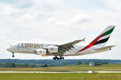 ZURICH, SWITZERLAND - MAY 25, 2014: Airbus A380 Emirates landing Stock Images