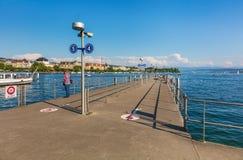 Pier on Lake Zurich in Switzerland Stock Photo