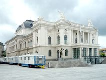 Zurich, Switzerland,  May 31  2017: view on the classical building of the Opera House and a cloudy sky Stock Photo
