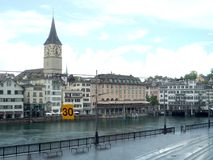 Zurich, Switzerland, May 31 2017: view on some old buildings in the center of the city in an overcast day. Zurich, Switzerland, May 31 2017: view on some old royalty free stock images