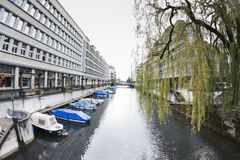 ZURICH,SWITZERLAND - NOVEMBER 21,2015: View of a river of the ci Stock Photography