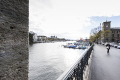 ZURICH,SWITZERLAND - NOVEMBER 21,2015: View of the river Limago Royalty Free Stock Photos