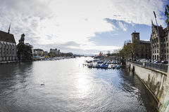 ZURICH,SWITZERLAND - NOVEMBER 21,2015: View of the river Limago Stock Photography