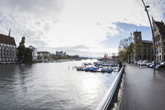 ZURICH,SWITZERLAND - NOVEMBER 21,2015: View of the river Limago Royalty Free Stock Photo