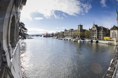 ZURICH,SWITZERLAND - NOVEMBER 21,2015: View of the river Limago Stock Photo
