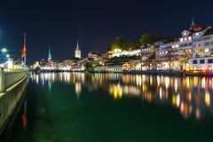 Zurich, Switzerland - Oct 13, 2018 : Beautiful view historic Zurich city center with famous Fraumunster Church and river Limmat in stock photo