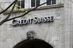 Credit Suisse in the Swiss financial center of Zurich city. royalty free stock photo