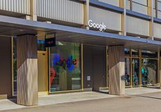 Entrance to the office of the Google company in Zurich, Switzerl. Zurich, Switzerland - 11 October, 2017: entrance to the office of the Google company on Gustav Royalty Free Stock Photo