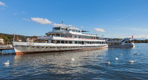 MS Linth at a pier on Lake Zurich. Zurich, Switzerland - 13 October, 2013: MS Linth at a pier on Lake Zurich. MS Linth belongs to the Lake Zurich Navigation Royalty Free Stock Image