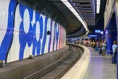 Zurich, Switzerland, October 2018. Passengers at the platform in royalty free stock photography